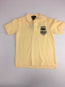 Vtg 90s Polo by Ralph Lauren yellow crest 5 stitched button polo/rugby shirt 8