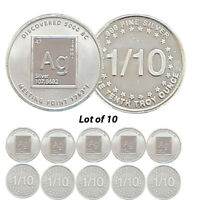 Lot of 10 -- New 1/10 oz AG Periodic Table .999 Fine Silver Rounds