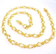 Women Wife Girl Gift Shining Sparkle Chain Necklace 49cm 24K Yellow Gold Plated