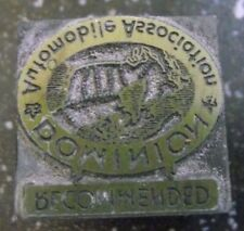 DOMINION AUTOMOBILE ASSOCATION RECOMMENEDED  WOOD LETTER PRESS PRINT BLOCK