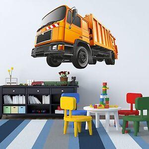 XXL Wallprint Wandtattoo Müllauto 156x115cm Bild Müllmann Baustelle