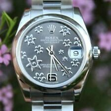 Rolex 31mm Datejust 178240 Ladies Midsize Steel Rhodium Flower Floral Arabic Dia