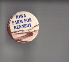 1980 TED KENNEDY pin IOWA Caucus ALSO Also RAN pinback FARMING Tractor Graphic