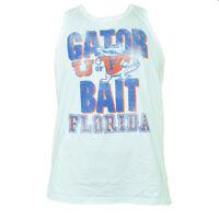 NCAA Florida Gators Tank Top Crew Neck White Distressed Tshirt Tee Sports UF