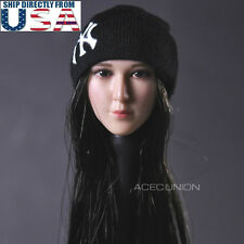 1/6 Asian Beauty Female Head Sculpt with Hat For Hot Toys Phicen U.S.A. SELLER