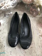 COLE HAAN Air Black Leather Cap Toe Wedge Ballet Flats Casual Shoe Women 8.5b