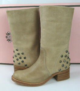 Juicy Couture Womens Joanie Studded Leather Mid-Calf Boots 7.5 Beige $495 NIB