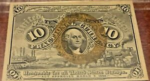 10 Cents Second Issue Fractional Currency PMG Almost Uncirculated 55 Fr 1244