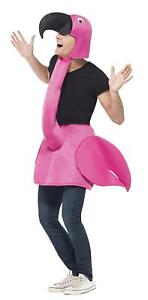 ADULT PINK FLAMINGO COSTUME MENS LADIES ANIMAL FANCY DRESS BIRD ONE PIECE OUTFIT