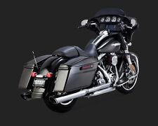 "Vance & Hines 16763 Twin Slash Slip-on Mufflers 4"" Round - Chrome - 95-16 Harley"