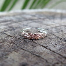 Ring 4mm Rose Gold Plated Tr1047 Hawaiian Sterling Silver Flower Scroll Toe