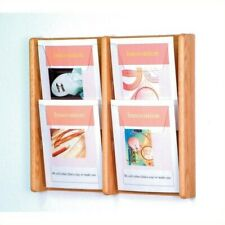 Pemberly Row 4 Pocket Acrylic and Oak Wall Display in Light Oak