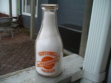 Scott Powell Aristocrat Dairy Orange Paint Round 1944 Quart Milk Bottle Pa