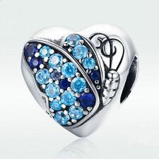 NEW DIY heart Silver CZ European Charm Beads Fit 925 Pendant Necklace Bracelet