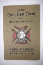 1908 SOUVENIR BOOK OF KNIGHTS OF ST JOHN Reading, PA * Knights Hospitaller