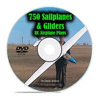 750 Sailplanes & Gliders, Remote Control RC Radio Model Airplane Plans, DVD I22