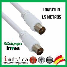 CABLE DE ANTENA TELEVISION 1,5 1.5 METROS RECTO MACHO COAXIAL BLANCO TDT M-M