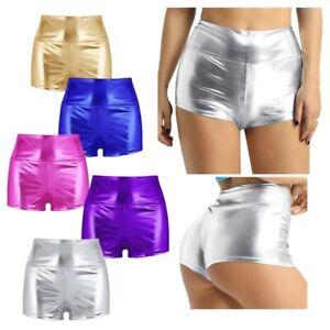 Women Sexy Stretchy Liquid Wet Look High Waist Dance Rave Booty Shorts Hot Pants