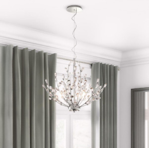 Blossom Flower Pendant Light, Unique Diamond Crystal Branch, Elegant Chandelier