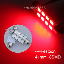 100X Red Festoon 41/42MM 5050 8SMD Dome Map Interior LED Light 578 211-2 214-2 P