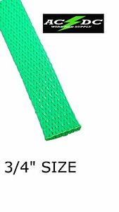 "20 FT 3/4"" NEON Green PET Expandable Wire Cable Sleeving Sheathing Braided Loom"