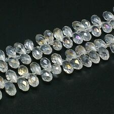 """1 Strand Crystal Glass Beads Faceted Drop Clear AB 13x6mm 100pcs/strand 16.5"""""""