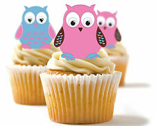 ✿ 24 Edible Rice Paper Cup Cake Toppings, Cake decs - Owls ✿