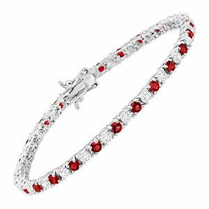 """Tennis Bracelet with Red Glass & Cubic Zirconias in Rhodium-Plated Brass, 7.25"""""""