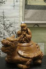 RARE BIG Zisha crafted Statue of Shou Xing Dragon Turtle God of Longevity Jar