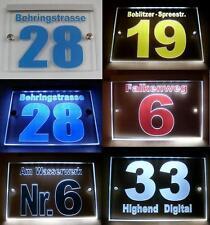 Hausnummer,Graviertes Acrylglas, LED beleuchtet