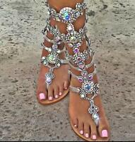 Women's Roman Rhinestones Flat Strappy Flip-Flop Hollow Sandals Shoes UK 2.5-10