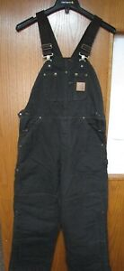CARHARTT R27 DKB BIB OVERALLS QUILT LINED SANDSTONE NEW WITH TAGS