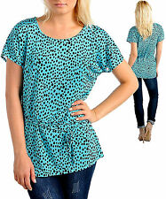 LARGER SIZE 5X LOVELY & COOL LADIES SUMMER TOP BLUE and BLACK SPOTS DRIP DRY NO