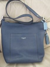 Coach Pebble Leather Large Duffle Handbag, slate blue, great pre-owned condition