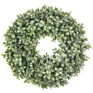 "17"" Artificial Greenery Wreath Boxwood Wreath Home Garland Front Door Decoration"