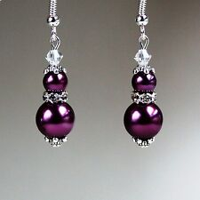 Burgundy pearls crystals vintage silver drop earrings wedding bridesmaid gift