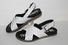 I Desire The Things That Destroy Me Oolong Sandals, White,Leather, Women's US 7