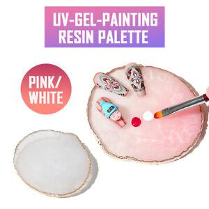 Nail Art Ring Palette Resin Agate Plate UV Gel Polish Mixing UK Jewelry Display