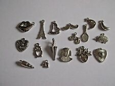 50 Mixed SILVER ACRYLIC CCB CHARMS Owl Moon Heart King Tut Bicycle Lips Tower