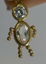 Vintage 14K  gold Articulated Stick / Beaded Figure Charm with Clear stones