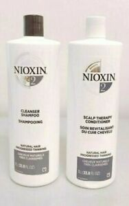 Nioxin System 2 Cleanser Shampoo & Therapy Conditioner Litre *Choose Option*