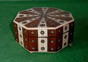 ANTIQUE BOX ANGLO INDIAN VIZAGAPATAM HEXAGONAL OCTAGONAL BOX circa 1860