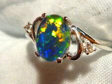 Opal Ring Ladies 14ct White Gold & Diamond 8x6 mm Oval Triplet item 100035.