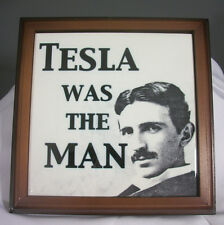 "Tesla Was The Man Graphic 8"" Trivet Wood Framed Ceramic Tile New in Package"