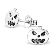 Childrens Kids Girls 925 Sterling Silver Plain Pumpkin Ear Studs-Free Gift Box