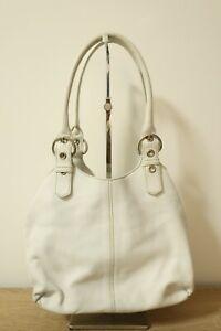 Authentic PRADA White Leather tote hand bag #8133