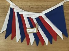 Fabric bunting flags red blue and white plain- baby nursery decor party photo