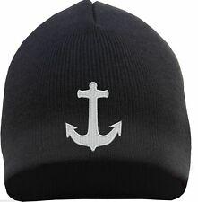 Beanie Mütze mit Anker Stick - Schwarz - anchor kapitän strickmütze