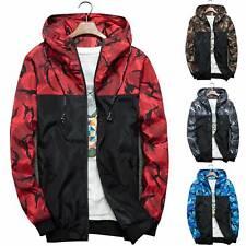 Mens Jacket Winter Warm Camo Outdoor Hoodie Lightweight Outwear Windbreaker Tops