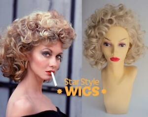 DELUXE SANDY CURLY BLONDE 1950s PINK LADIES GREASE COSTUME WIG
